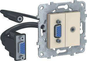 Фото Schneider Electric Unica New NU593244 Розетка комбинированная (VGA+Jack3.5mm, под рамку, скрытая установка, бежевая)
