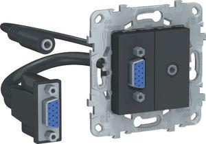 Фото Schneider Electric Unica New NU593254 Розетка комбинированная (VGA+Jack3.5mm, под рамку, скрытая установка, антрацит)