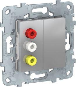 Фото Schneider Electric Unica New NU543130 Розетка комбинированная (3xRCA, под рамку, скрытая установка, алюминий)