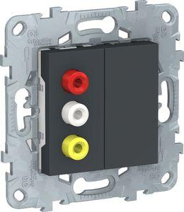 Фото Schneider Electric Unica New NU543154 Розетка комбинированная (3xRCA, под рамку, скрытая установка, антрацит)