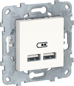 Фото Schneider Electric Unica New NU541818 Розетка USB (USB, под рамку, скрытая установка, белая)