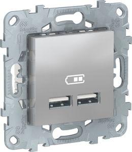 Фото Schneider Electric Unica New NU541830 Розетка USB (USB, под рамку, скрытая установка, алюминий)