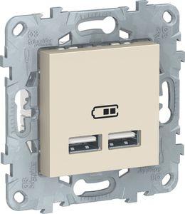 Фото Schneider Electric Unica New NU541844 Розетка USB (USB, под рамку, скрытая установка, бежевая)