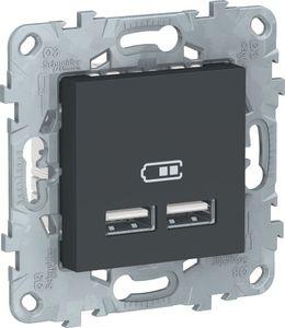 Фото Schneider Electric Unica New NU541854 Розетка USB (USB, под рамку, скрытая установка, антрацит)