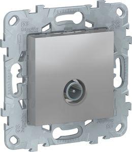 Фото Schneider Electric Unica New NU546330 Розетка телевизионная (TV, проходная, под рамку, скрытая установка, алюминий)