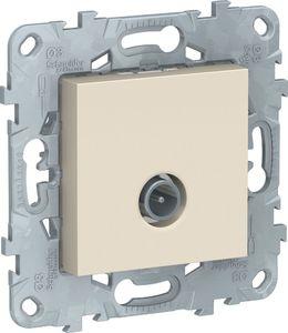 Фото Schneider Electric Unica New NU546344 Розетка телевизионная (TV, проходная, под рамку, скрытая установка, бежевая)