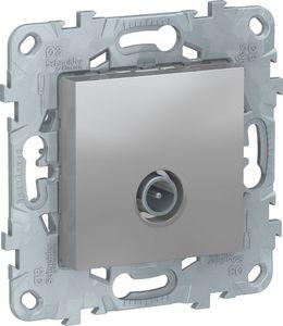 Фото Schneider Electric Unica New NU546430 Розетка телевизионная (TV, оконечная, под рамку, скрытая установка, алюминий)