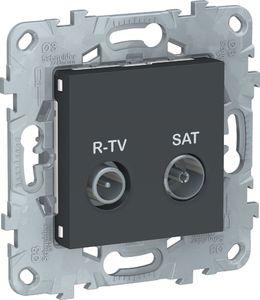 Фото Schneider Electric Unica New NU545454 Розетка телевизионная (TV/Radio+SAT, звезда, под рамку, скрытая установка, антрацит)