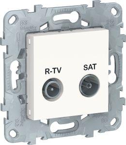 Фото Schneider Electric Unica New NU545618 Розетка телевизионная (TV/Radio+SAT, проходная, под рамку, скрытая установка, белая)