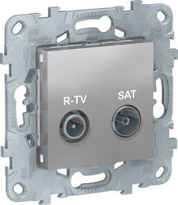 Фото Schneider Electric Unica New NU545630 Розетка телевизионная (TV/Radio+SAT, проходная, под рамку, скрытая установка, алюминий)
