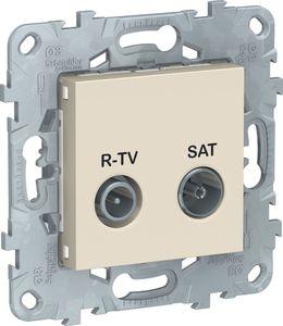 Фото Schneider Electric Unica New NU545644 Розетка телевизионная (TV/Radio+SAT, проходная, под рамку, скрытая установка, бежевая)