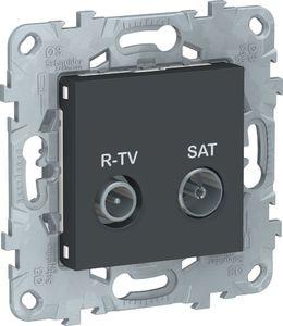 Фото Schneider Electric Unica New NU545654 Розетка телевизионная (TV/Radio+SAT, проходная, под рамку, скрытая установка, антрацит)