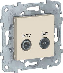 Фото Schneider Electric Unica New NU545544 Розетка телевизионная (TV/Radio+SAT, оконечная, под рамку, скрытая установка, бежевая)