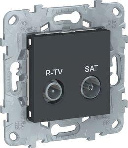 Фото Schneider Electric Unica New NU545554 Розетка телевизионная (TV/Radio+SAT, оконечная, под рамку, скрытая установка, антрацит)