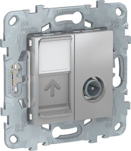 Фото Schneider Electric Unica New NU547030 Розетка комбинированная (TV+RJ45, cat6, UTP, под рамку, скрытая установка, алюминий)