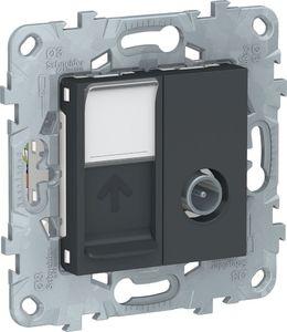 Фото Schneider Electric Unica New NU547054 Розетка комбинированная (TV+RJ45, cat6, UTP, под рамку, скрытая установка, антрацит)
