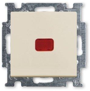 Фото ABB Basic55 2CKA001012A2150 Переключатель одноклавишный с N-клеммой (10 А, индикация, под рамку, скрытая установка, слоновая кость)