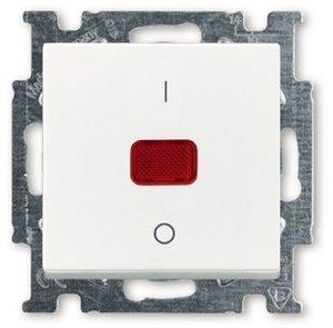 Фото ABB Basic55 2CKA001020A0089 Выключатель одноклавишный двухполюсной (20 А, индикация, под рамку, скрытая установка, альпийский белый)