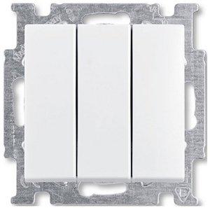 Фото ABB Basic55 2CKA001012A2155 Выключатель трехклавишный (16 А, под рамку, скрытая установка, альпийский белый)