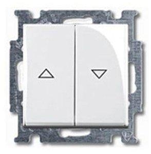 Фото ABB Basic55 2CKA001413A1082 Выключатель двухклавишный жалюзийный (10 А, под рамку, скрытая установка, альпийский белый)