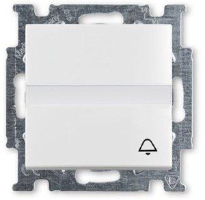 """Фото ABB Basic55 2CKA001413A1086 Выключатель одноклавишный (Н.О. контакт, поле для надписи, """"звонок"""", 10 А, под рамку, скрытая установка, альпийский белый)"""