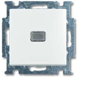 Фото ABB Basic55 2CKA001012A2143 Переключатель одноклавишный с N-клеммой (10 А, индикация, под рамку, скрытая установка, альпийский белый)
