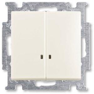 Фото ABB Basic55 2CKA001012A2188 Выключатель двухклавишный (10 А, подсветка, под рамку, скрытая установка, chalet-белый)