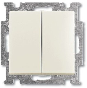 Фото ABB Basic55 2CKA001012A2187 Выключатель двухклавишный (10 А, под рамку, скрытая установка, chalet-белый)