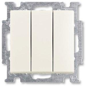 Фото ABB Basic55 2CKA001012A2183 Выключатель трехклавишный (16 А, под рамку, скрытая установка, chalet-белый)