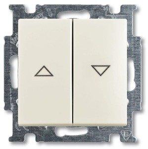 Фото ABB Basic55 2CKA001012A2186 Выключатель двухклавишный жалюзийный (10 А, под рамку, скрытая установка, chalet-белый)