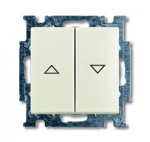 Фото ABB Basic55 2CKA001413A1102 Выключатель двухклавишный жалюзийный (10 А, под рамку, скрытая установка, chalet-белый)