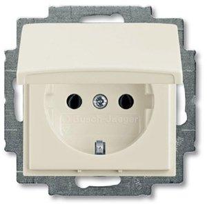 Фото ABB Basic55 2CKA002018A1503 Розетка с заземляющим контактом (IP44, 16 А, крышка, в сборе, скрытая установка, chalet-белый)