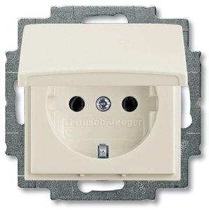 Фото ABB Basic55 2CKA002018A1500 Розетка с заземляющим контактом (16 А, крышка, под рамку, скрытая установка, chalet-белый)