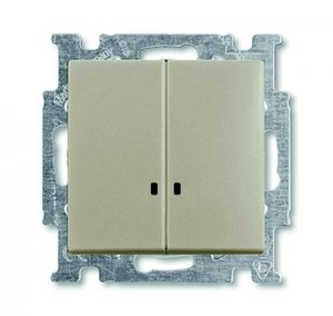 Фото ABB Basic55 2CKA001012A2168 Выключатель двухклавишный (10 А, подсветка, под рамку, скрытая установка, шампань)