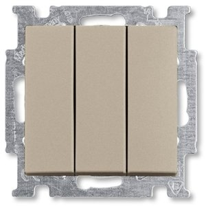 Фото ABB Basic55 2CKA001012A2163 Выключатель трехклавишный (16 А, под рамку, скрытая установка, шампань)
