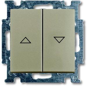 Фото ABB Basic55 2CKA001413A1094 Выключатель двухклавишный жалюзийный (10 А, под рамку, скрытая установка, шампань)
