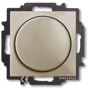 Фото ABB Basic55 2CKA006515A0845 Светорегулятор поворотно-нажимной (400 Вт, подсветка, под рамку, скрытая установка, шампань)
