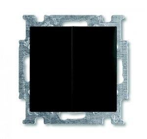 Фото ABB Basic55 2CKA001012A2178 Выключатель двухклавишный (10 А, подсветка, под рамку, скрытая установка, chateau-черный)