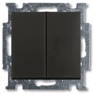 Фото ABB Basic55 2CKA001012A2177 Выключатель двухклавишный (10 А, под рамку, скрытая установка, chateau-черный)