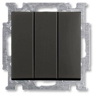 Фото ABB Basic55 2CKA001012A2173 Выключатель трехклавишный (16 А, под рамку, скрытая установка, chateau-черный)