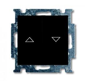 Фото ABB Basic55 2CKA001012A2176 Выключатель двухклавишный жалюзийный (10 А, под рамку, скрытая установка, chateau-черный)