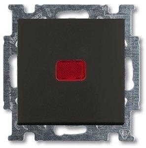 Фото ABB Basic55 2CKA001413A1096 Выключатель одноклавишный (Н.О. контакт, подсветка, 10 А, под рамку, скрытая установка, chateau-черный)