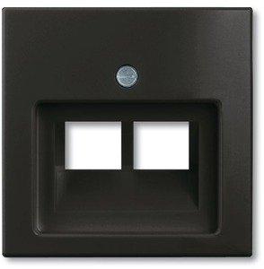 Фото ABB Basic55 2CKA001753A0206 Крышка розетки телефонной/компьютерной (2хRJ11/RJ45, chateau-черный)