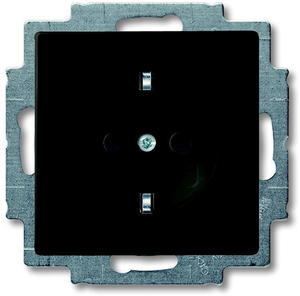 Фото ABB Basic55 2CKA002011A6147 Розетка с заземляющим контактом (16 А, винтовые клеммы, под рамку, скрытая установка, альпийский chateau-черный)