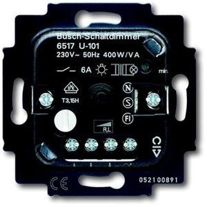 Фото ABB Alpha Exclusive/Alpha Nea 2CKA006515A0840 Светорегулятор поворотно-нажимной, возможность управления с двух мест (600 Вт, механизм, подсветка, с/у, возм. о/у)