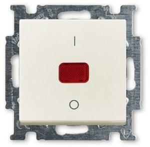 Фото ABB Basic55 2CKA001020A0090 Выключатель одноклавишный двухполюсной (20 А, индикация, под рамку, скрытая установка, слоновая кость)