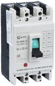 Фото EKF mccb99-63-25mi Автоматический выключатель ВА-99МL 63/25А 3P 15кА Basic