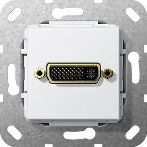 Фото Gira System55 564403 Розетка DVI (24+5) переходник (DVI, под рамку, скрытая установка, белая глянцевая)