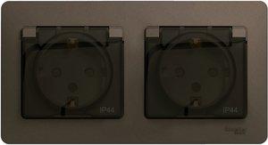 Фото Schneider Electric Glossa GSL001147 Розетка двойная с заземляющим контактом и шторками (16 А, IP44, крышка, в сборе, скрытая установка, баклажановая)