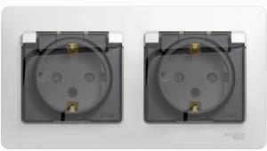 Фото Schneider Electric Glossa GSL000247 Розетка двойная с заземляющим контактом и шторками (16 А, IP44, крышка, в сборе, скрытая установка, бежевая)